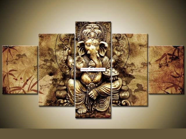 Framed 5 piece ganesha red maple tree print poster canvas wall art ganesha red maple tree print 5 piece canvas art wall art picture home decor gumiabroncs Images