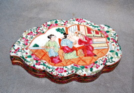 Chinese Export Porcelain Mandarin Palette Leaf Shape Cosmetic Box 19th C... - $4,000.00