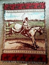 VTG Cowboy Tapestry Blanket Afghan Throw Rodeo Horse Thick Fringe Huge - $51.41