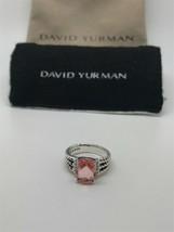 David Yurman Sterling Silver Petite Morganite & Diamond Wheaton Ring Size 5 - $266.00