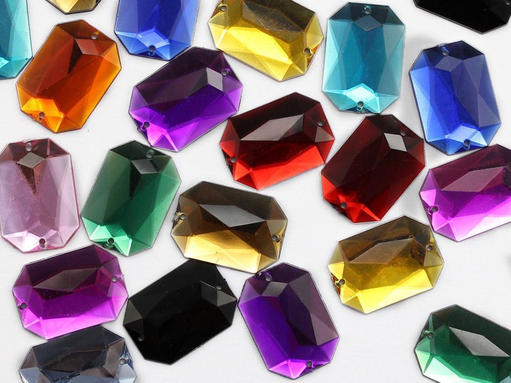 18x13mm Crystal Clear CH38 Octagon Flat Back Sew On Gems For Craft 50 PCS