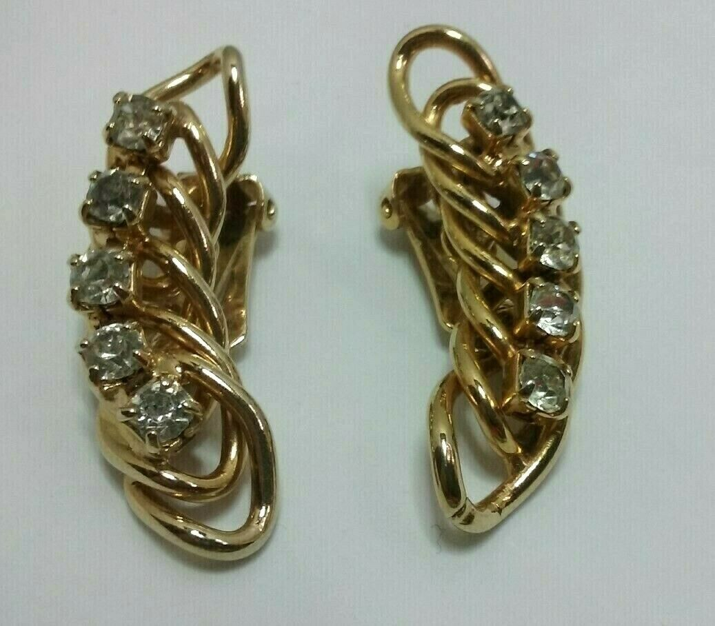 "Primary image for Vintage Jewelry: 1 1/2"" Gold Tone Rhinestone Clip On Earrings 01-23-2019"
