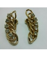 "Vintage Jewelry: 1 1/2"" Gold Tone Rhinestone Clip On Earrings 01-23-2019 - $10.99"