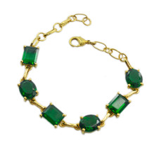 handsome Emerald CZ Gold Plated Green Bracelet genuine normaly US gift - $24.74