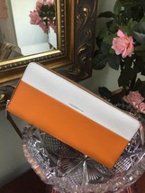 New Coach Wallet 51800  Colorblock White Orange Leather Accordion Zip W23 - $98.95