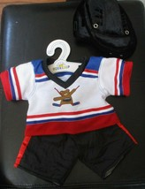 Build A Bear Workshop 3 Pc Hockey Outfit Top Bottoms & Helmet With Hanger - $14.84