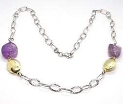 Halskette Silber 925, Amethyst Violet, Kette Ovale Mattiert, Länge 65 CM - $201.13