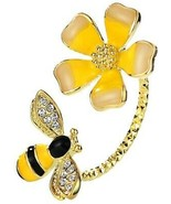 Neoglory Jewelry Yellow Flower Bees Zircon Adjustable Rings For Girls - $25.38