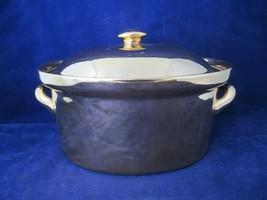 Vintage Hall Carbone Golden Glo 22 kt Mirror Finish Gold Ovenproof Casse... - $45.00