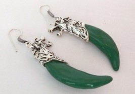 Indian Bollywood Style Silver Plated Green Color Stone Earrings Fashion ... - $10.39