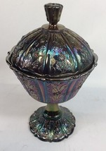 Fenton Carnival Glass Paneled Daisy Amethyst Iridescent Lidded Candy Com... - $47.52