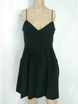 Express Black V-neck Henley Fit & Flare Full Skirt Pocket Skater Slip Su... - $14.03