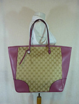 AUTH NWOT GUCCI Beige/Ebony/Dusty Rose Canvas/Leather Bree GG Tote - $1,168.15