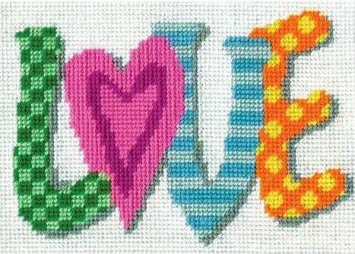 Design Works Love Needlepoint Kit, very small 5x7 bright - $12.99