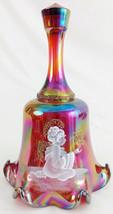Fenton Red Carnival Glass Bell Hand Painted White Angel Gold Gliter Ltd ... - $47.45
