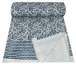 Indian Handmade Single Size Block Print Kantha Quilt Throw Art Bedspread... - £24.40 GBP