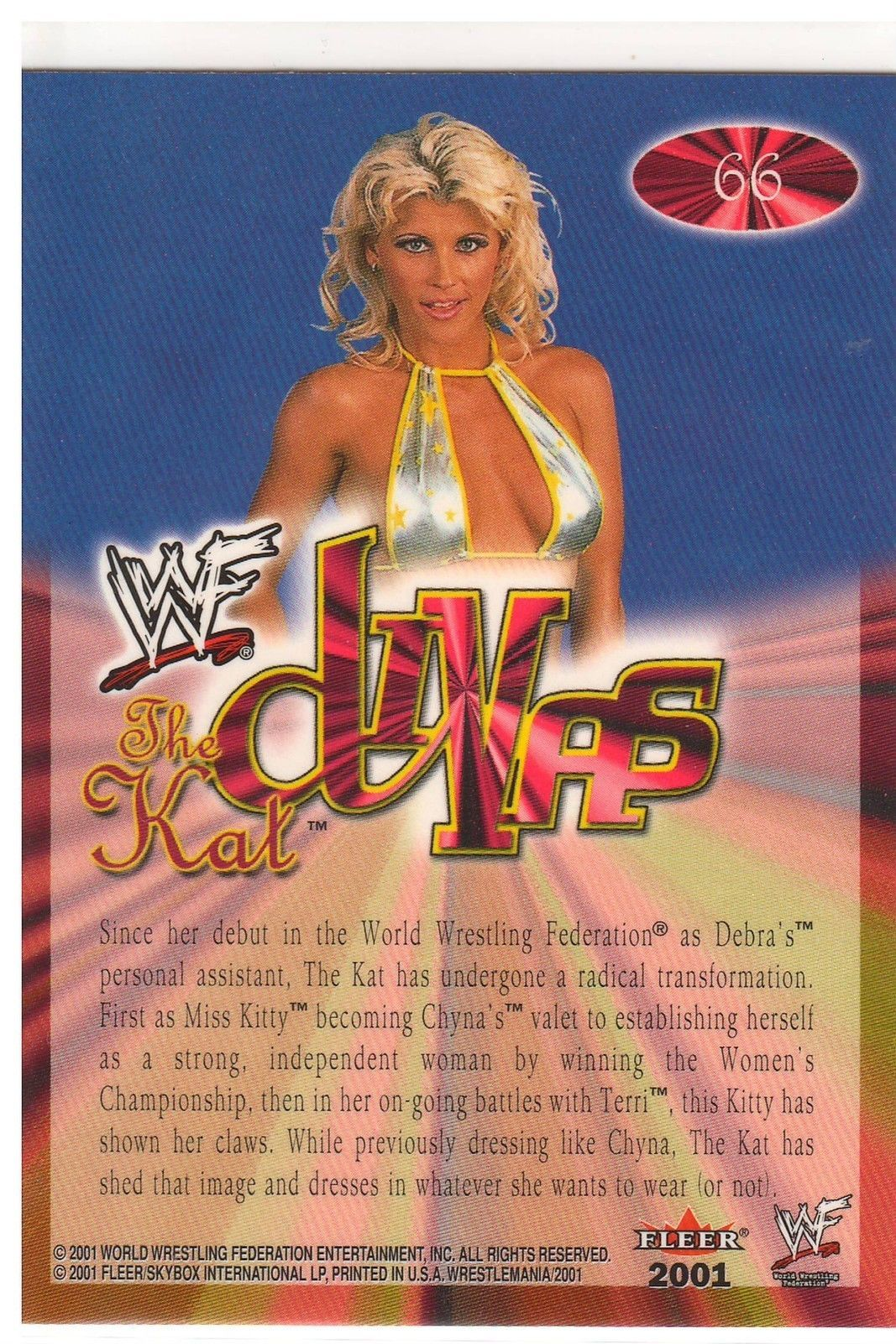 "2001 Fleer WWF Diva ""The Kat"" Wrestlemania Divas Trading Card (Mint) {4022}"