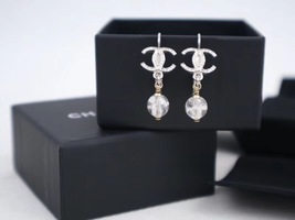 100% AUTH NEW CHANEL Silver CC Crystal Dangle Drop Earrings image 3