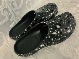 Womens CROCS  Black Embellished with Gold and White Stars No Strap Size 9 - $26.99