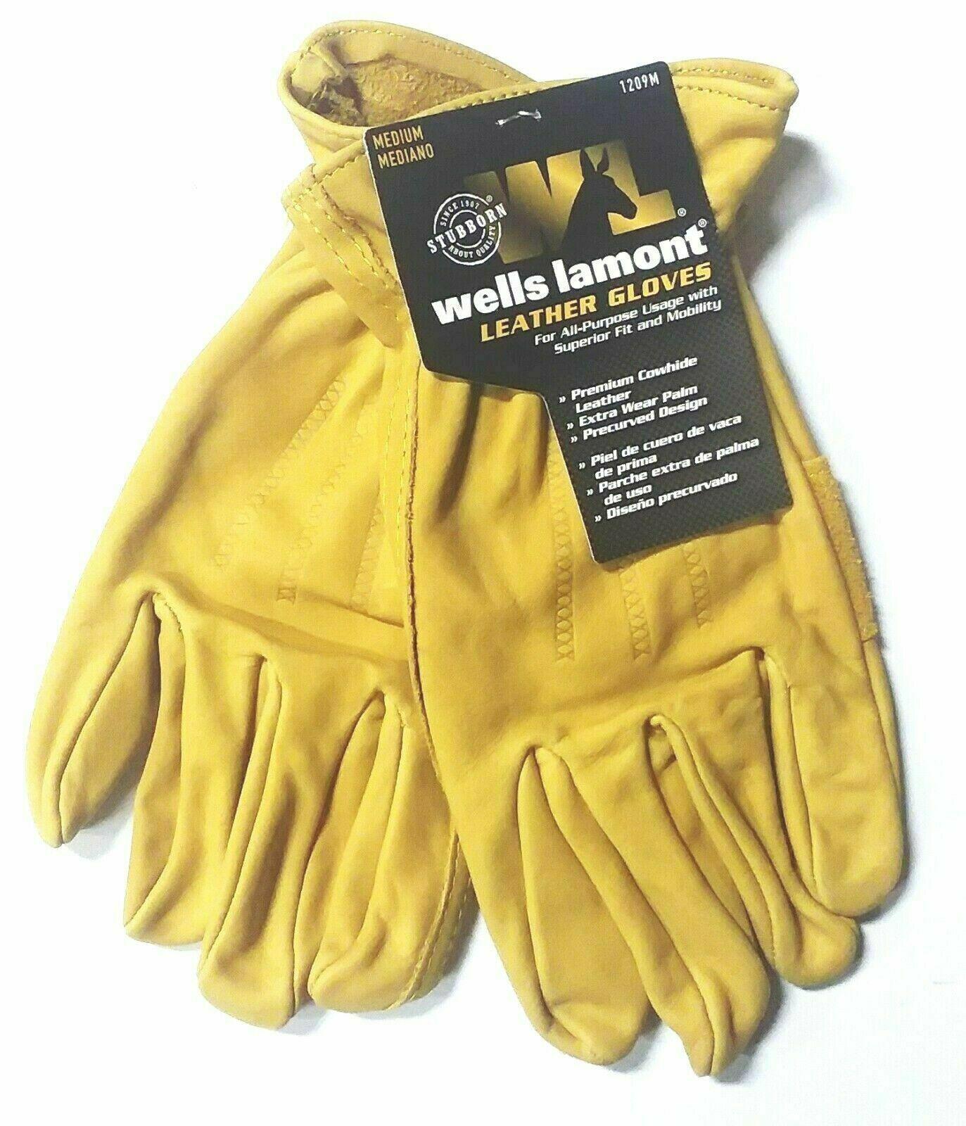Wells Lamont Premium Cowhide Leather Work Gloves Medium NEW