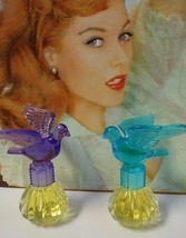 2 Bottles Delagar Royal Dove Fashion Scents Perfumes Purple and Teal Bir... - $12.00