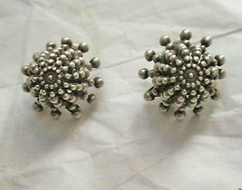 "Vintage Dome knobbed silver tone clip 1"" earrings marked France - $24.74"