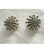 """Vintage Dome knobbed silver tone clip 1"""" earrings marked France - $24.74"""