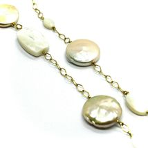 18K YELLOW GOLD NECKLACE WITH MOTHER OF PEARL AND PEARL DISC, RHOMBUS CHAIN image 3