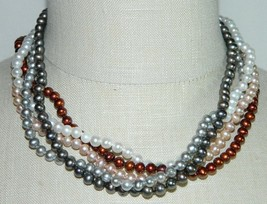 VTG .925 Sterling Silver Multi Color Genuine Pearl Necklaces Set of 5 Wo... - $123.75