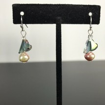Heart Shape Bead Stone Dangle With Cultured Pink Pearl Earrings  Surgical Steel - $19.79