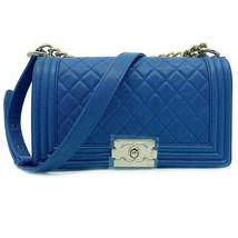 Chanel Blue Quilted Caviar Gold Tone Medium Boy Flap Bag  A67086 B00317 ... - $7,299.00