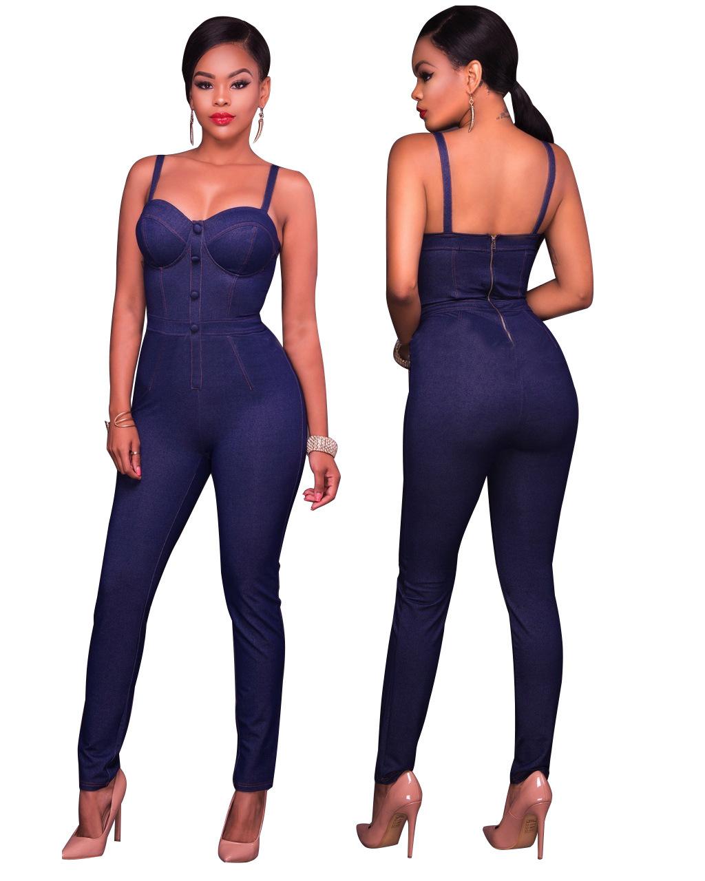 Slinkey purple blue strappy denim jumpsuit 25743 25743 1