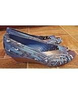 Dana Buchman Women Size 6.5 Turquoise Blues Texture Open Toe Wedge Heels... - $39.59