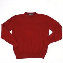 90's Nautica V-Neck Sweater Size M Burgundy Maroon Knit Vintage Longslee... - $23.53