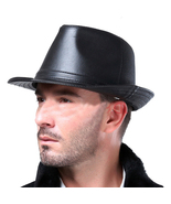 The new British retro jazz leather hat Gentleman Fashion seasons joker h... - $15.59