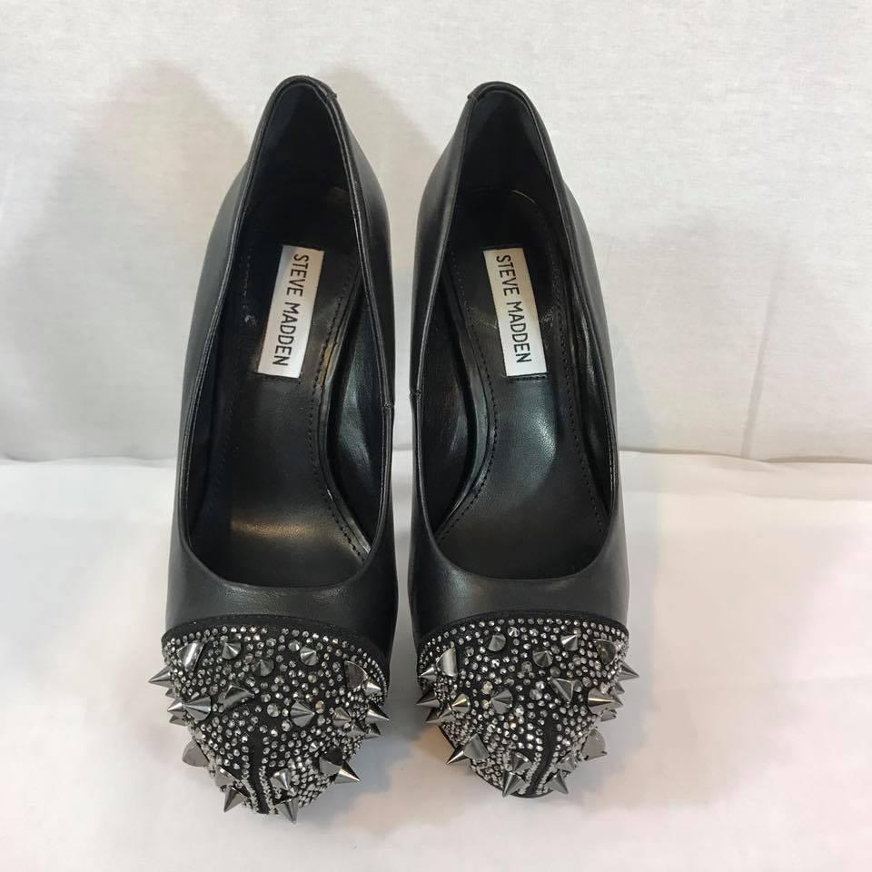 5709384a23df Women s Steve Madden Bananaz Leather Black Silver pump size  ...