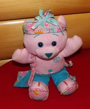 "DOODLE Bear Pink Plush 11"" in Ruffle Blue Pants with Flower Headband & Tote - $8.29"
