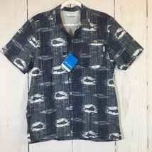 NWT Columbia PFG Men's Small Blue Fish Vented Back Short Sleeve Fishing Shirt - $20.12
