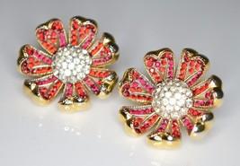 VTG Gold Tone RARE CROWN TRIFARI Red Clear Rhinestone Flower Clip Earrings image 2