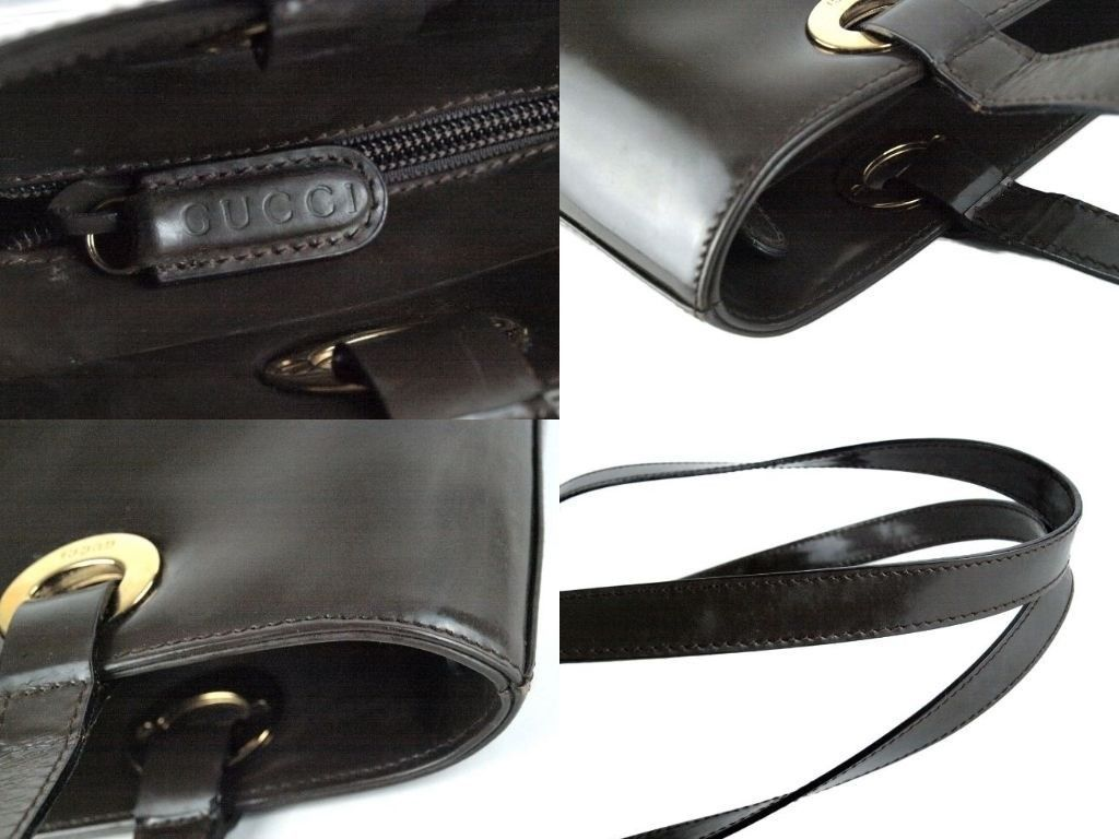 Auth GUCCI Chocolate Patent Leather Shoulder Bag Purse Italy 002.2058.0480.0