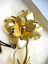 Large Vintage CORO Brooch Gold tone Flower in Original John Wanamaker Box Tags image 4