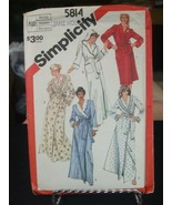 Simplicity 5814 Shawl Collar or Hooded Robes Pattern - Size M (14-16) Bu... - $9.89