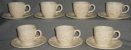 Set (7) Metlox ANTIQUE GRAPE PATTERN Cup/Saucers MADE IN CALIFORNIA - $39.59