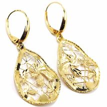 Yellow Gold Drop Earrings 750 18k, Drops Corrugated, Flowers worked image 3