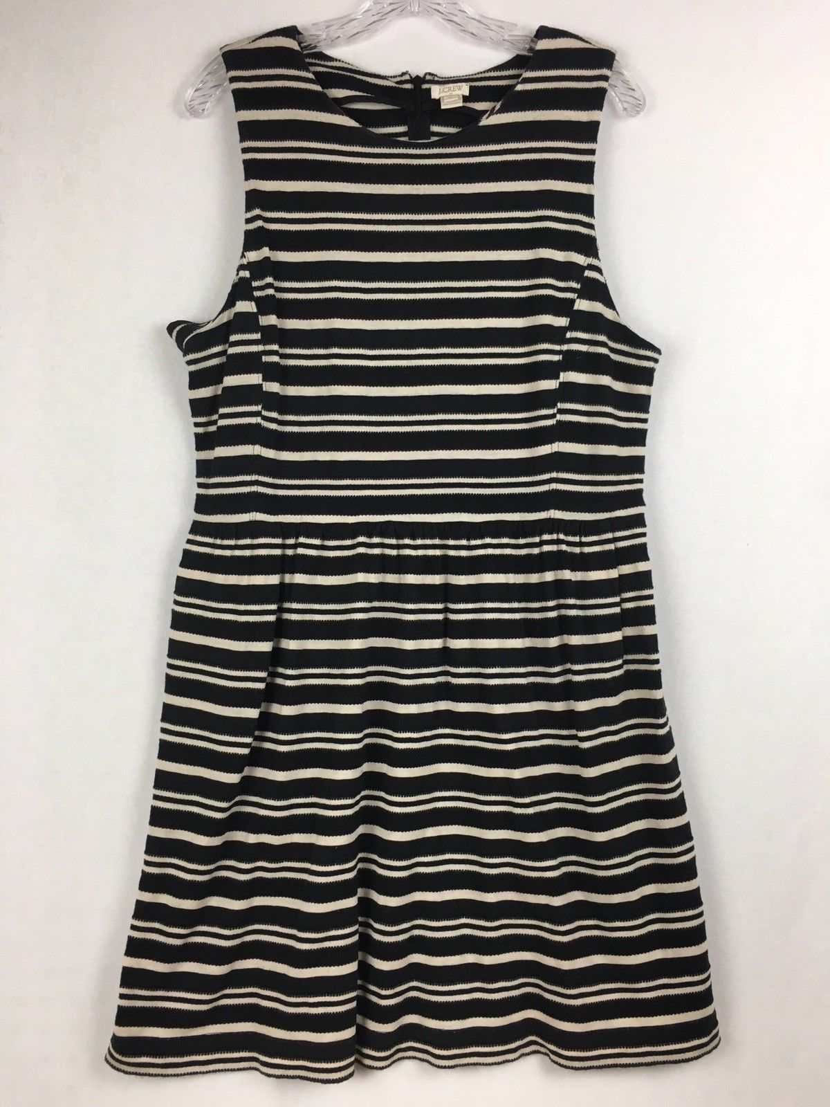 Primary image for J.Crew Factory Sleeveless Scoopneck Black & Beige Striped Midi Dress Size XL