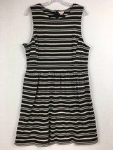 J.Crew Factory Sleeveless Scoopneck Black & Beige Striped Midi Dress Siz... - $24.86