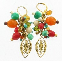 VINTAGE FILIGREE MULTI-COLOR GLASS BEAD DANGLE DROP WIRE BACKED EARRINGS... - $35.99