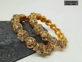 Kada Bangle Gpld Polish Bracelet Kangan Hand Rings Bollywood Ethnic Chud... - $80.09