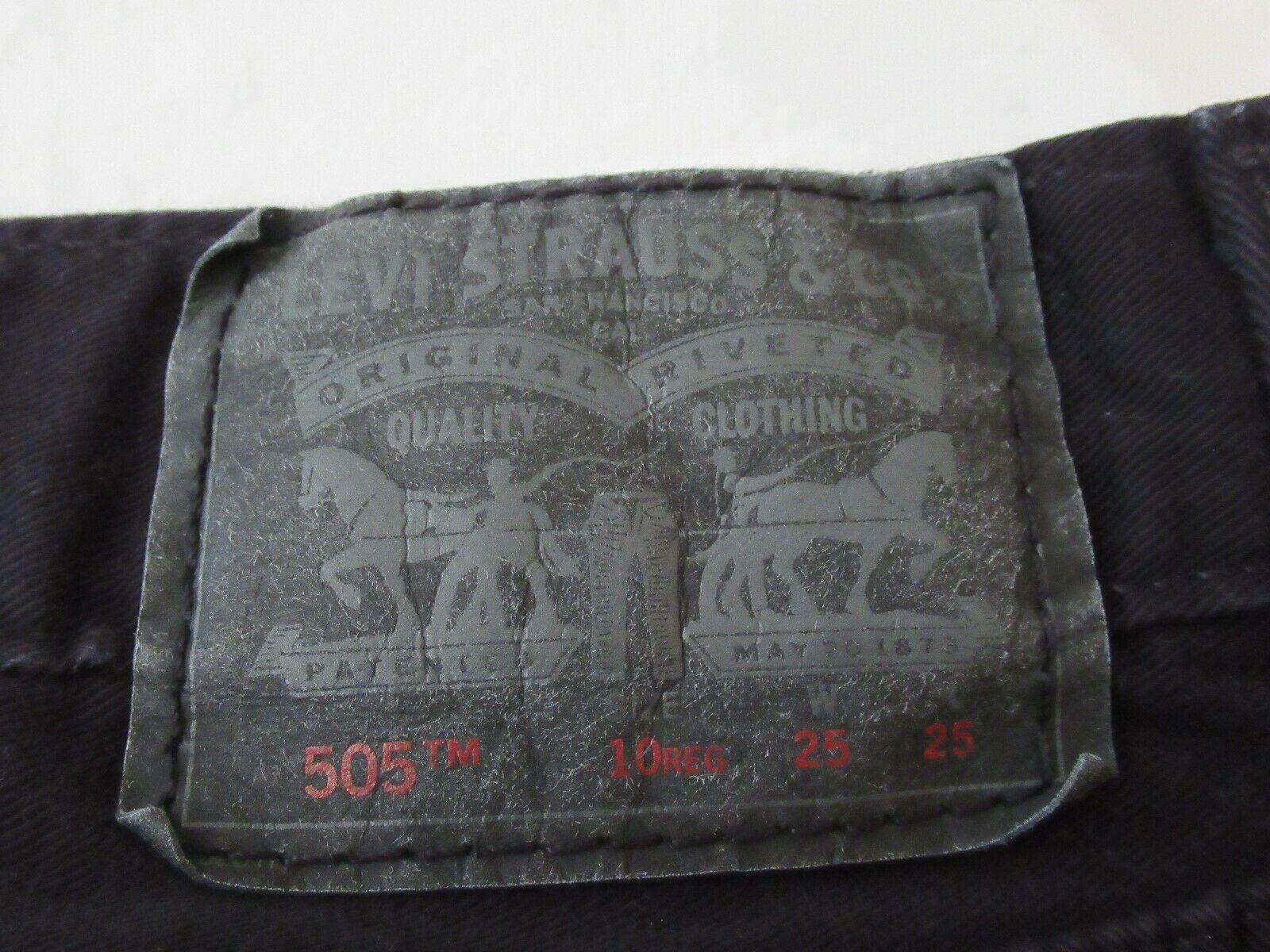 Boys Levis 505 Straight Black Denim Jeans Size 10 Reg Short! Brushed Cotton Warm image 8