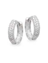 CZ by Kenneth Jay Lane KJL Silver tone Cubic Zirconia Mini Hoop Earrings - $84.15